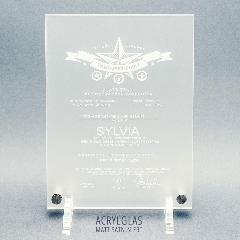 Sterntaufe Diamant Zertifikat Auf Acryglas Matt