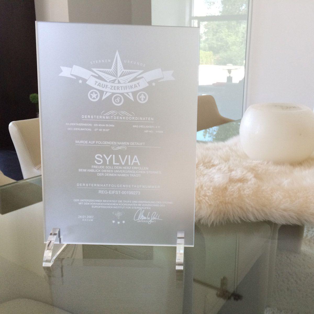 sterntaufe diamant zertifikat auf acryglas matt. Black Bedroom Furniture Sets. Home Design Ideas