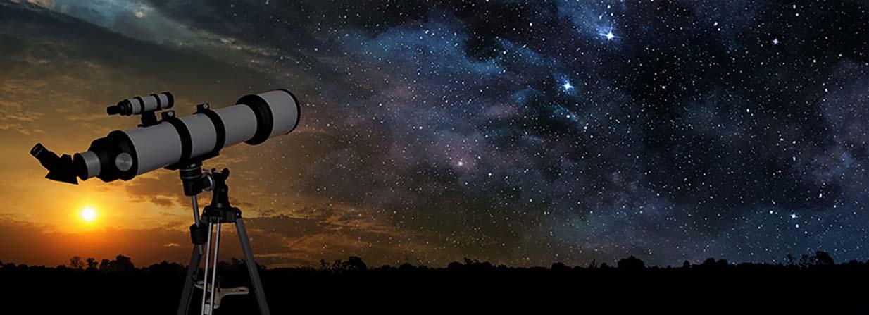 Teleskop vor Sternenhimmel